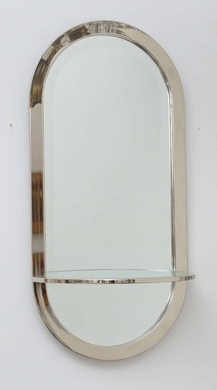 mid century modern chrome framed mirror and shelf 2