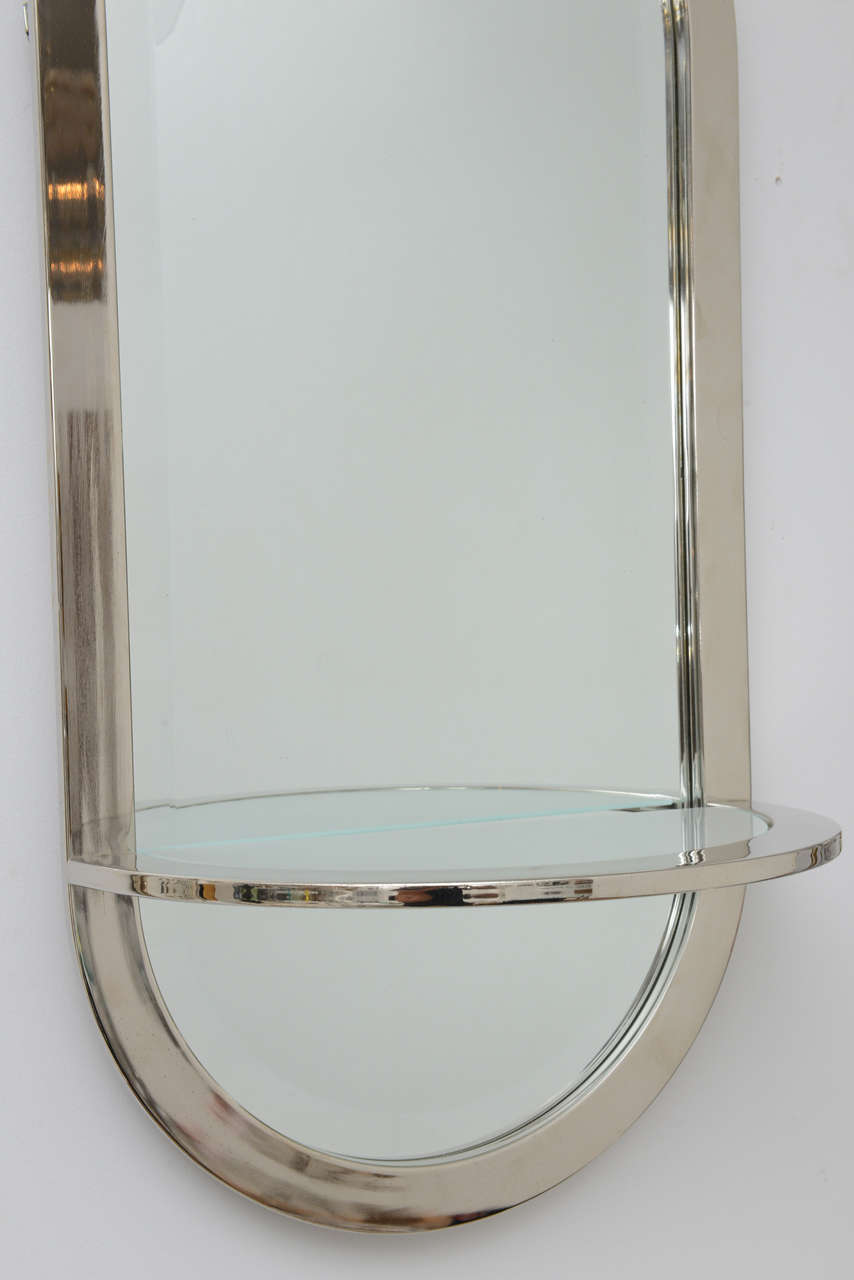 mid century modern chrome framed mirror and shelf 3