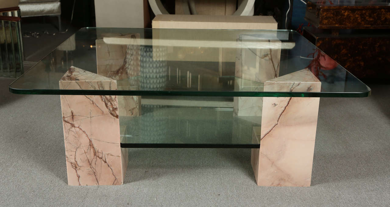 Lovely Interesting Coffee Table With Marble Corner Supports And Two Levels Of  Glass 3