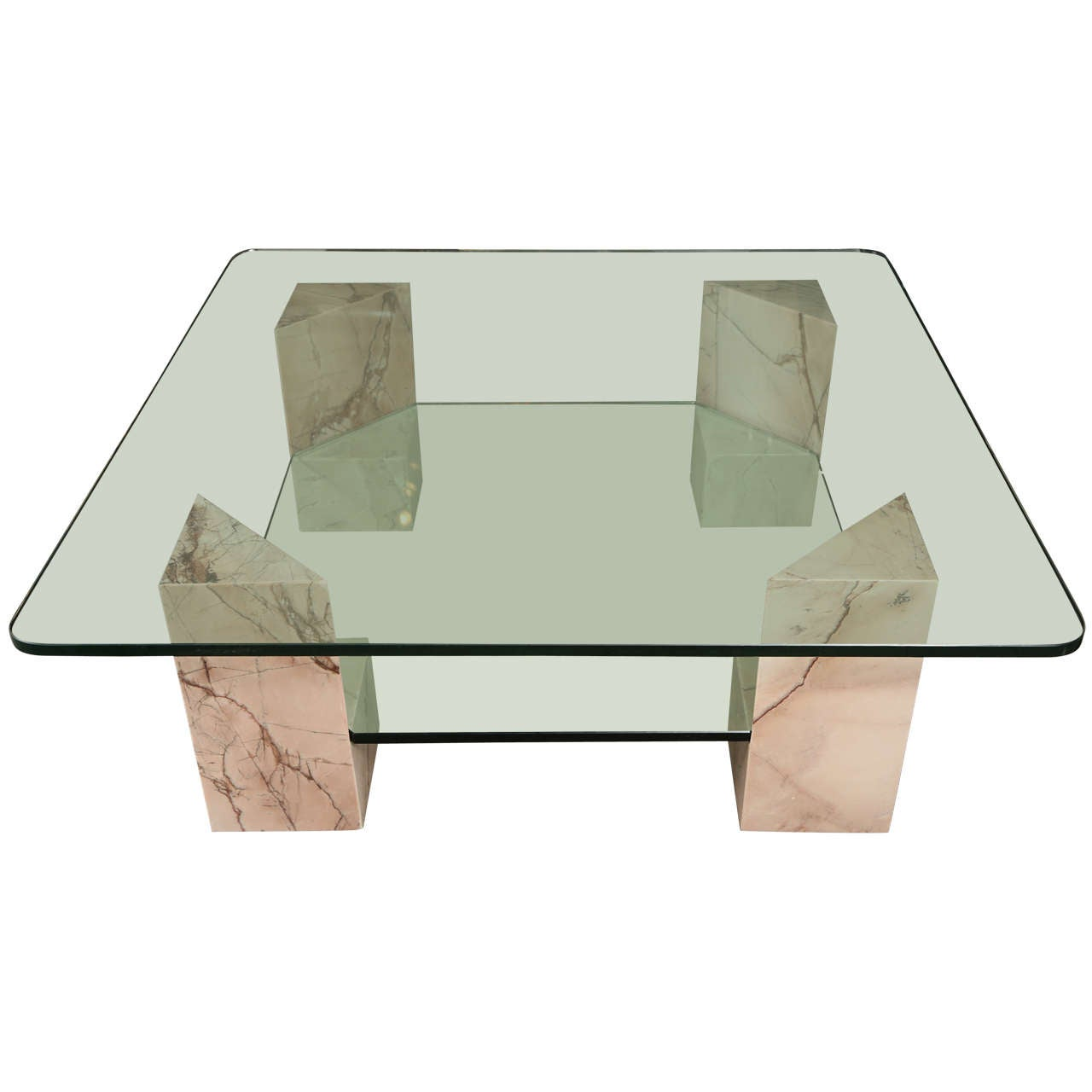 Interesting Coffee Table with Marble Corner Supports and Two