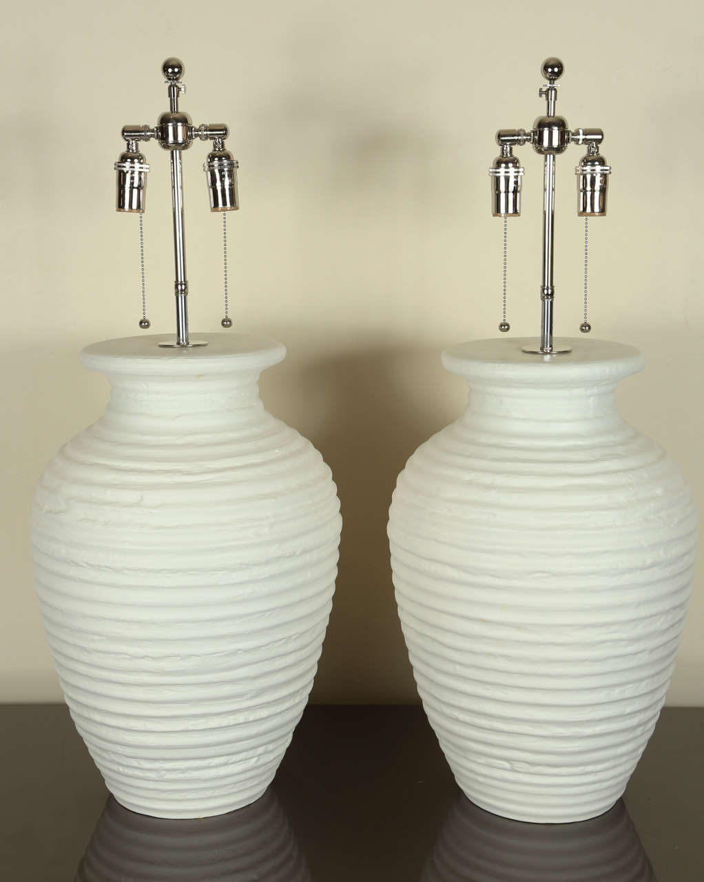 Large Pair of Urn Shaped Ceramic Table Lamps with a Matte White Finish 2
