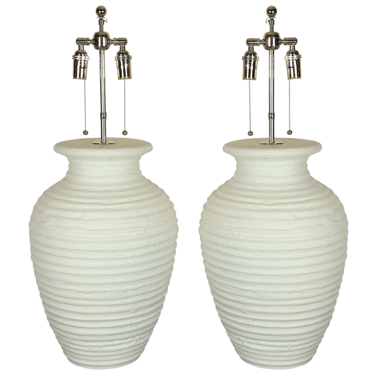 large pair of urn shaped ceramic table lamps with a matte. Black Bedroom Furniture Sets. Home Design Ideas