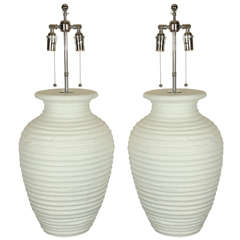 Large Pair of Urn Shaped Ceramic Table Lamps with a Matte White Finish
