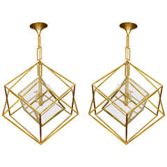 Pair of Cubic Chandeliers