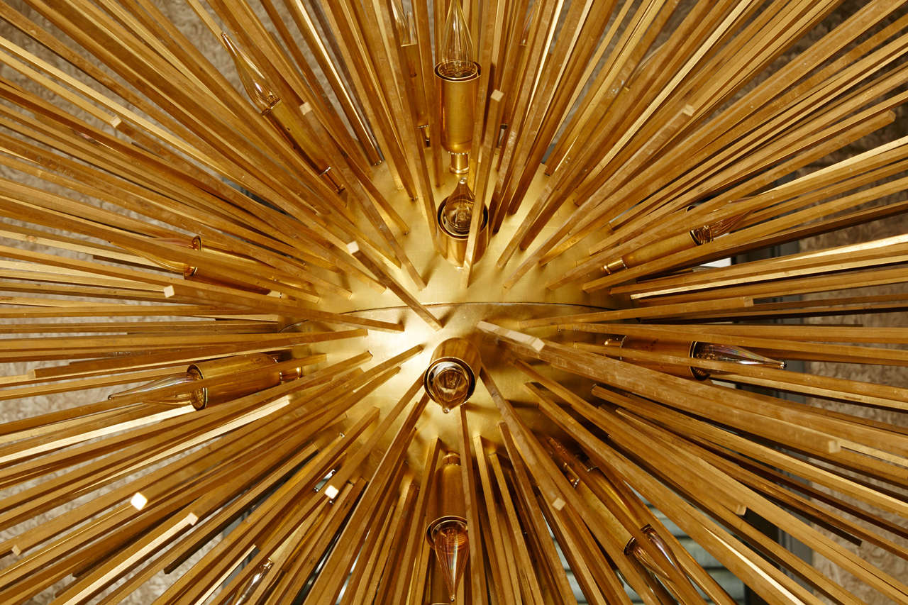 Stunning Sun Chandelier With Brass Peaks At 1stdibs