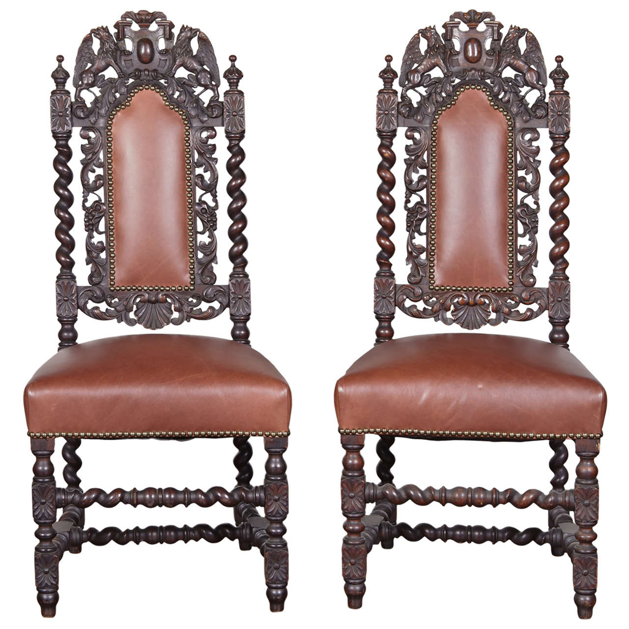 Pair Of Spanish Baroque Style Side Chairs For Sale