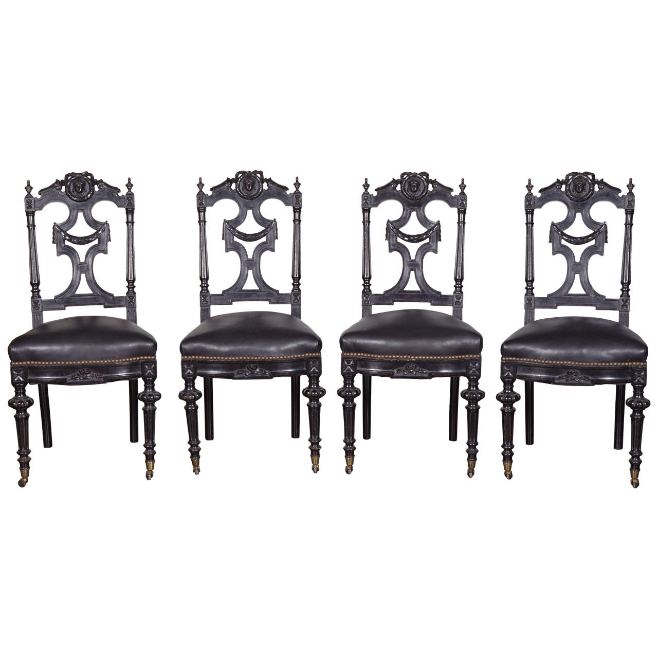 Set of Four 19th c. Ebonized Side Chairs For Sale