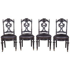 Set of Four 19th c. Ebonized Side Chairs