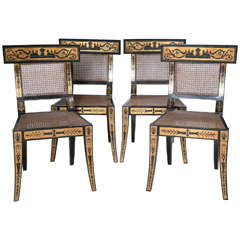 Set of Four Mid-Century Painted Klismos Chairs