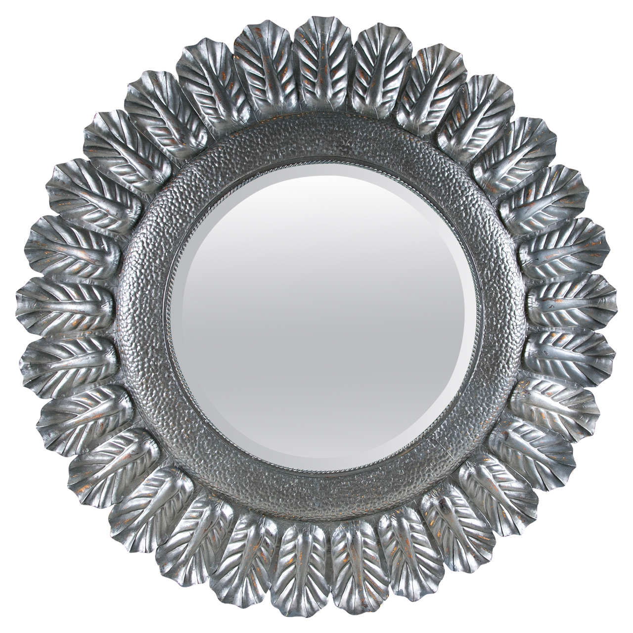 Round tole decorative mirror at 1stdibs for Ornamental mirrors