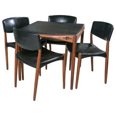 Teak and Leather Game Table with Four Side Chairs, Signed