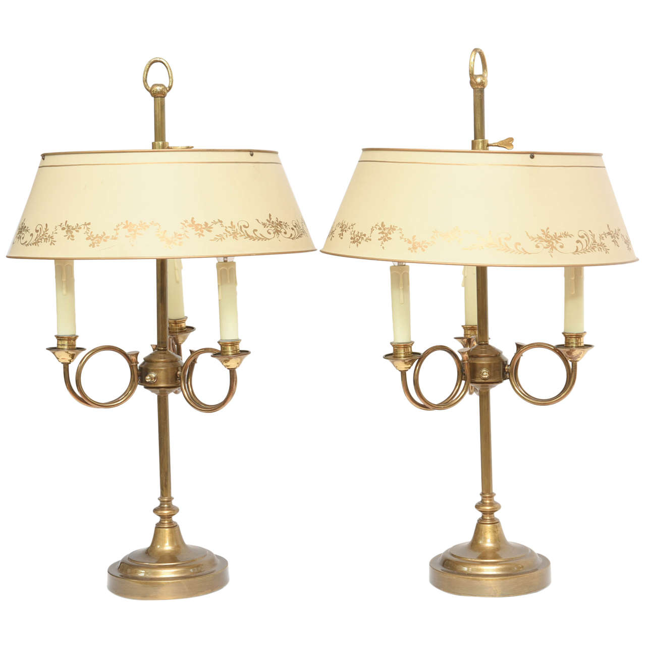 Pair Of Bouillotte Table Lamps With Tole Shades For Sale
