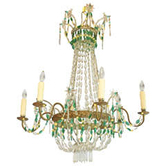 Italian Empire-Form Chandelier with Emerald and Citrine Colored Crystals