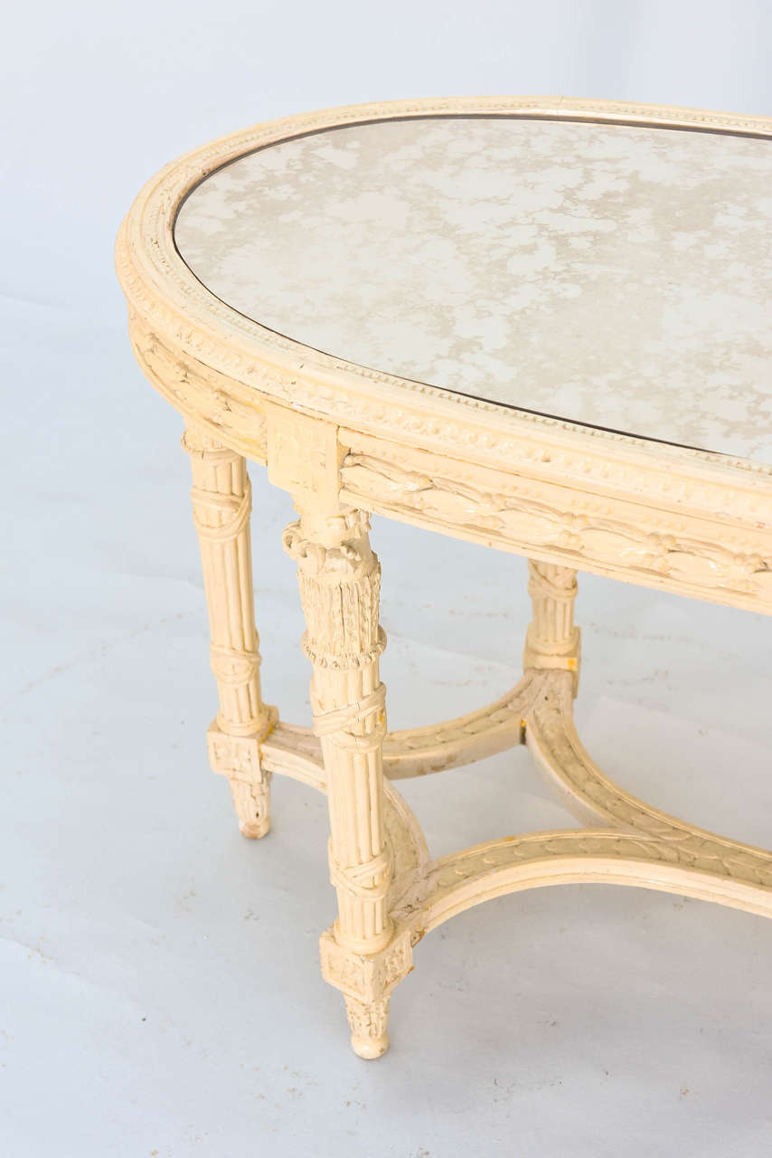 19th Century French Oval Table With Mirrored Top At 1stdibs
