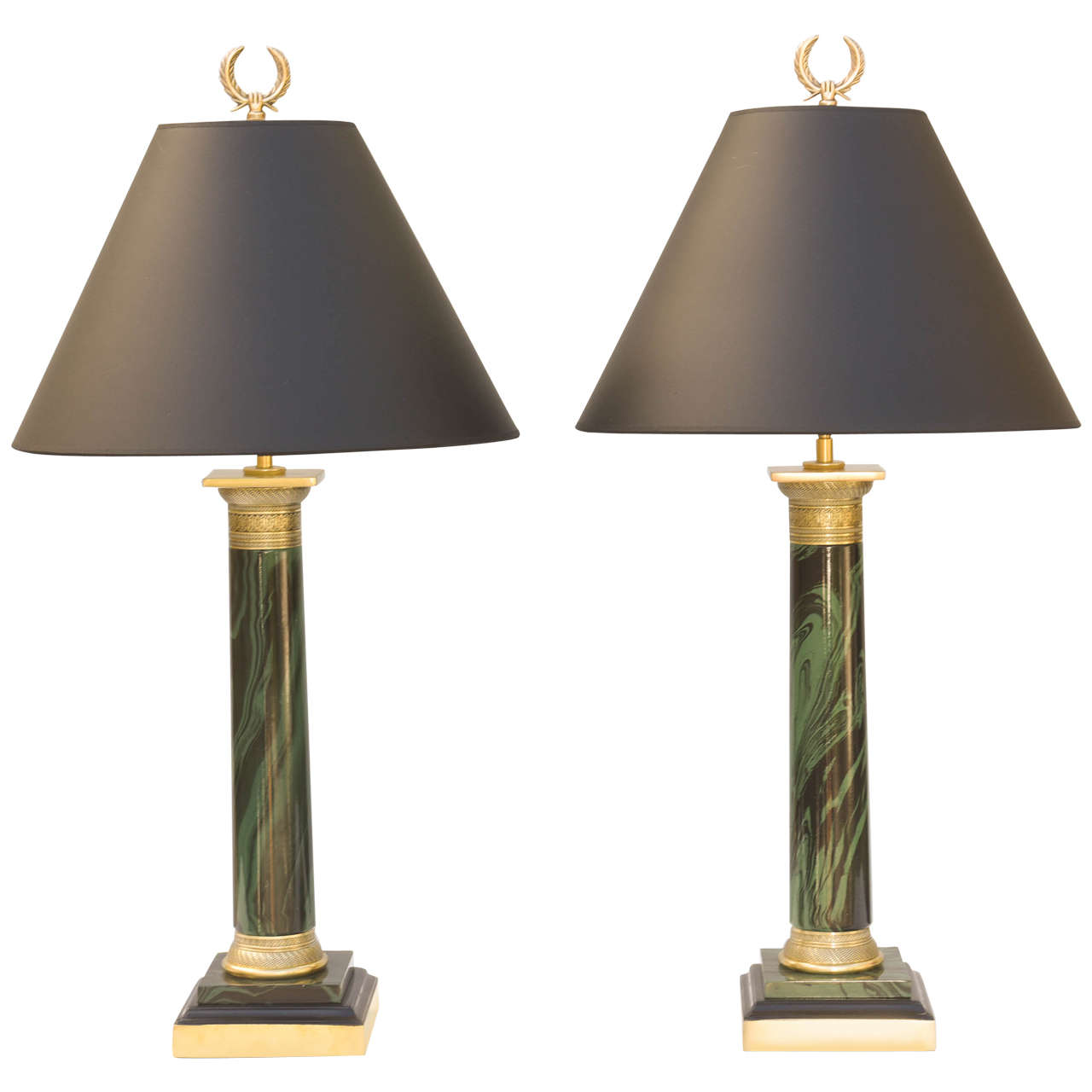 Pair of Faux Malachite Lamps by Paul Hansen