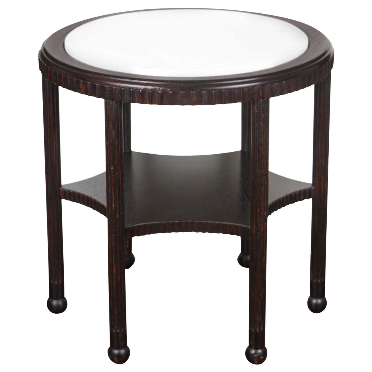 1970 39 S Round Side Table With Marble Top For Sale At 1stdibs