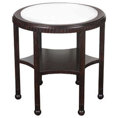 1970's Round Side Table with Marble Top