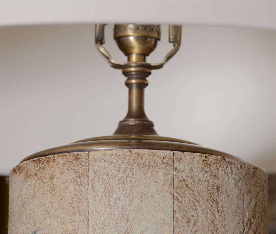 Pair of Lamps Greige Cylinders with Textured Finish 3