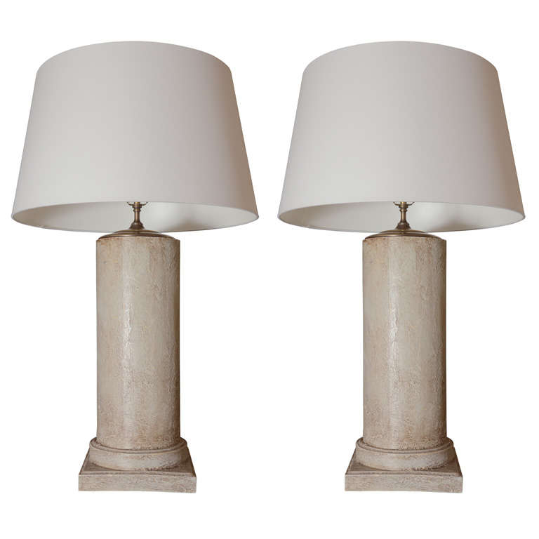 Pair of Lamps Greige Cylinders with Textured Finish 1