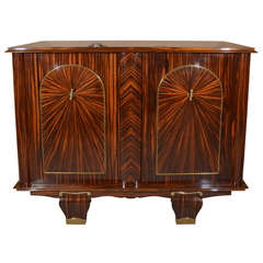 French Art Deco Macassar ebony 2 door commode