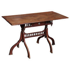 Dutch Colonial Elmwood Desk from Burma, Early 20th Century