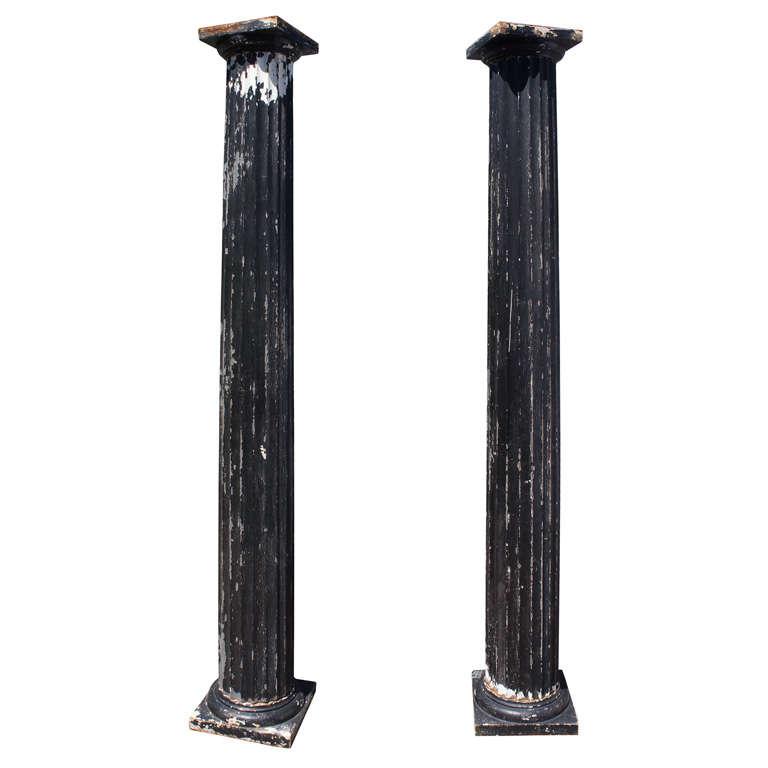 Pair of Antique Fluted Columns