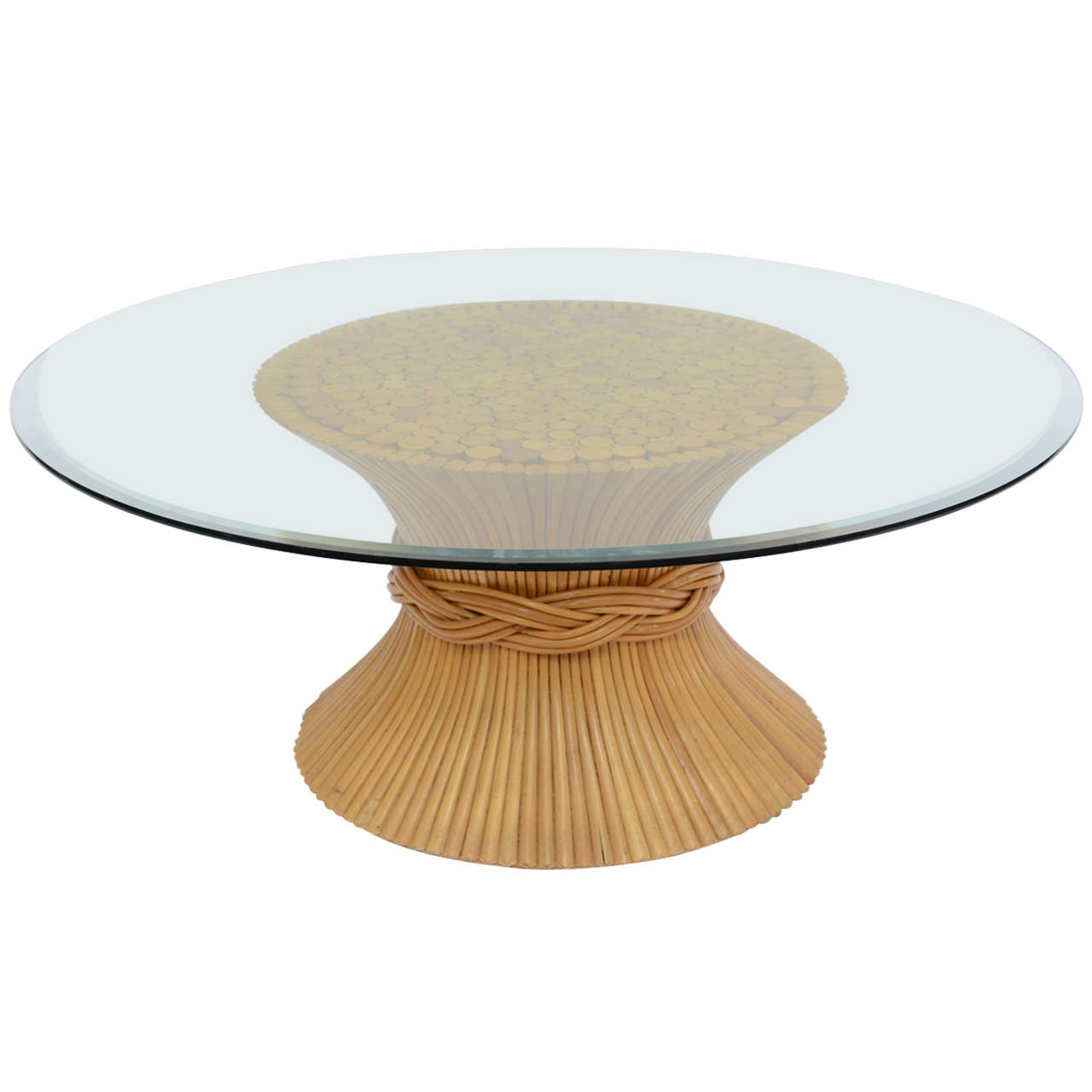 Vintage mcguire sheaf of wheat rattan coffee table at 1stdibs vintage mcguire sheaf of wheat rattan coffee table 1 geotapseo Images