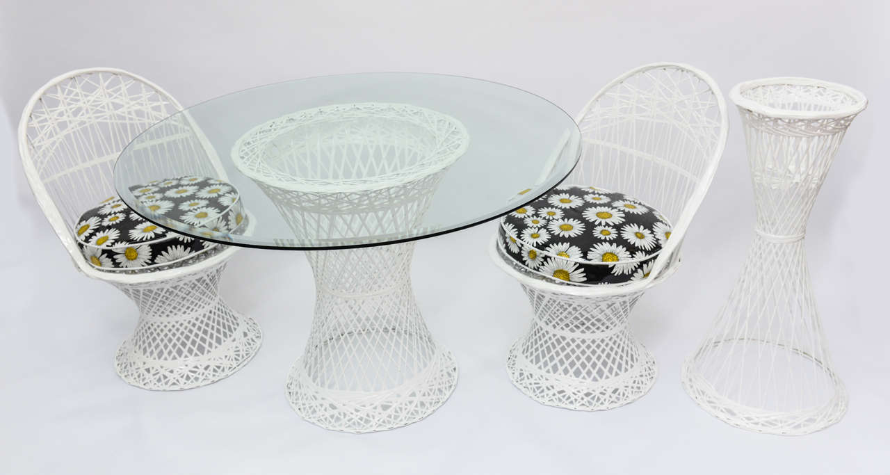 This Woven Fiberglass And Resin 1960u0027s Outdoor Furniture Set Have Been  Relacquered In White High Gloss