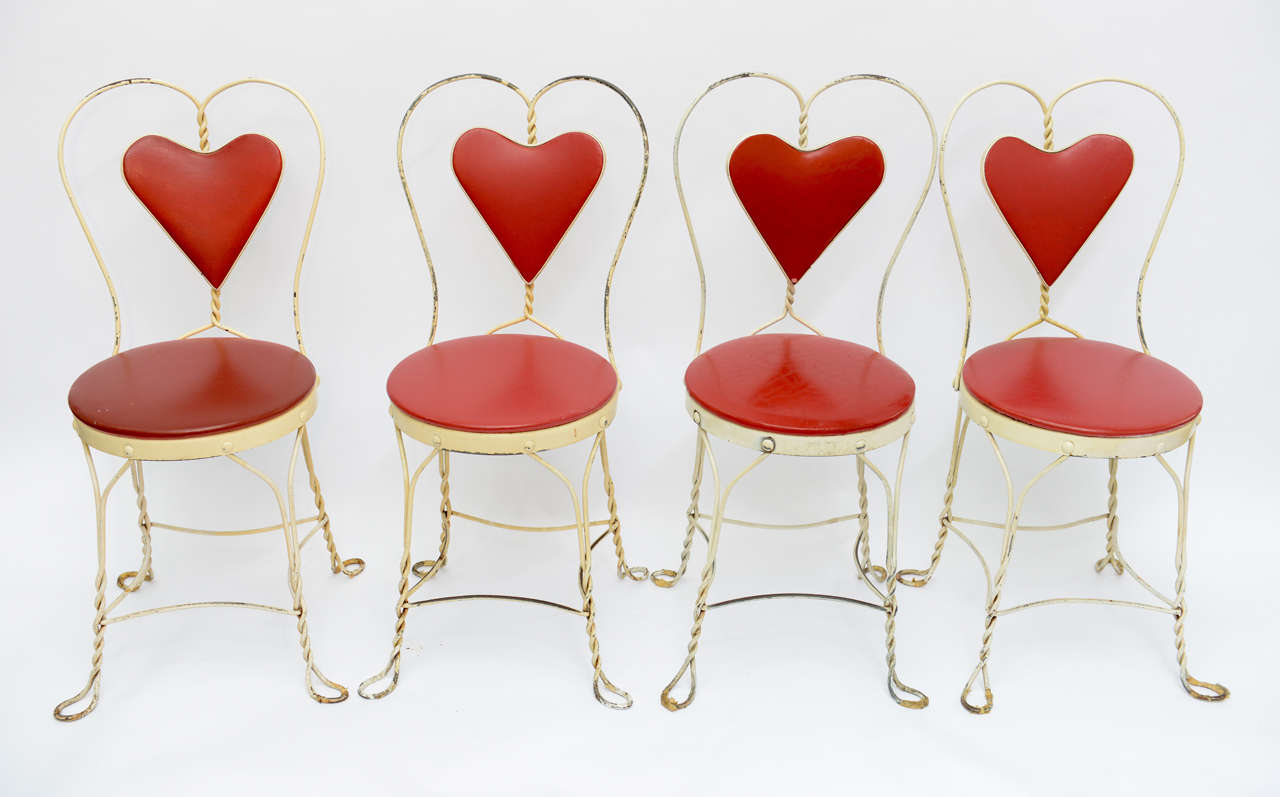 Ice Cream Parlor Chairs For Set Of 4 Antique Hard To Find White Wrought Iron Heart Back Twisted