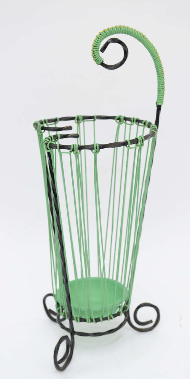 Mid-20th Century Lovely Glamour French Vintage Twisted Wrought Iron Umbrella Stand For Sale
