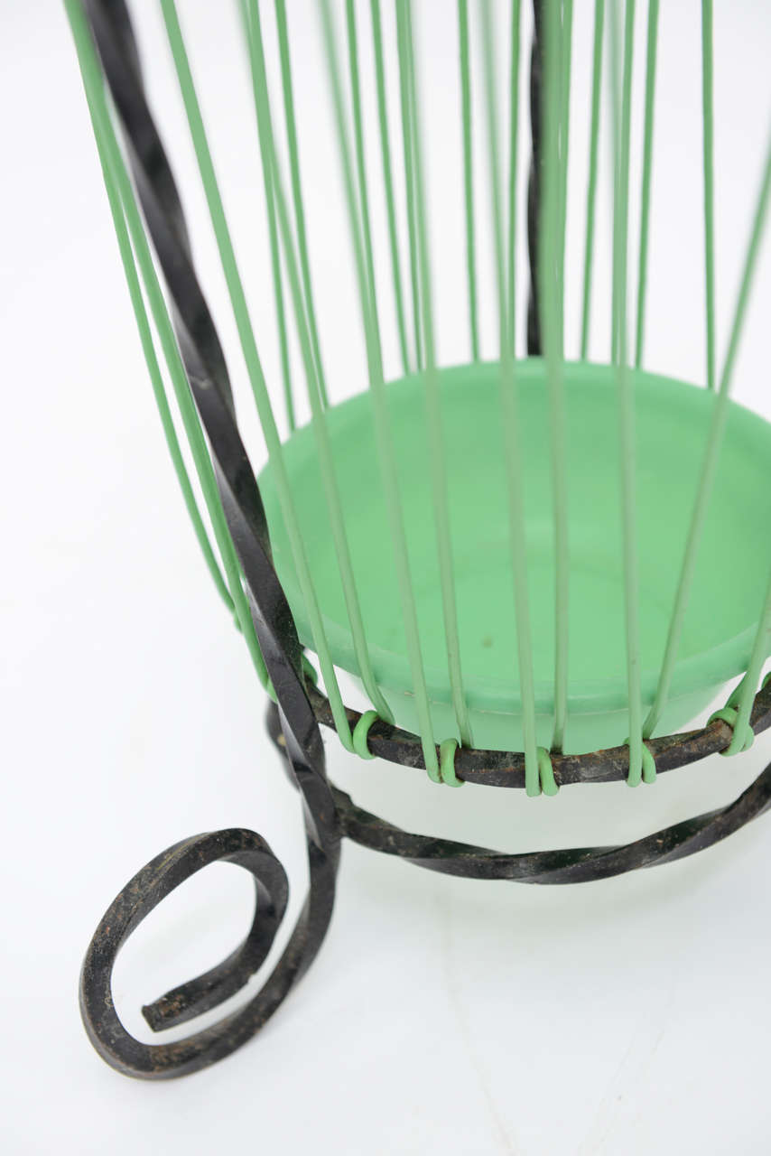 Lovely Glamour French Vintage Twisted Wrought Iron Umbrella Stand For Sale 5