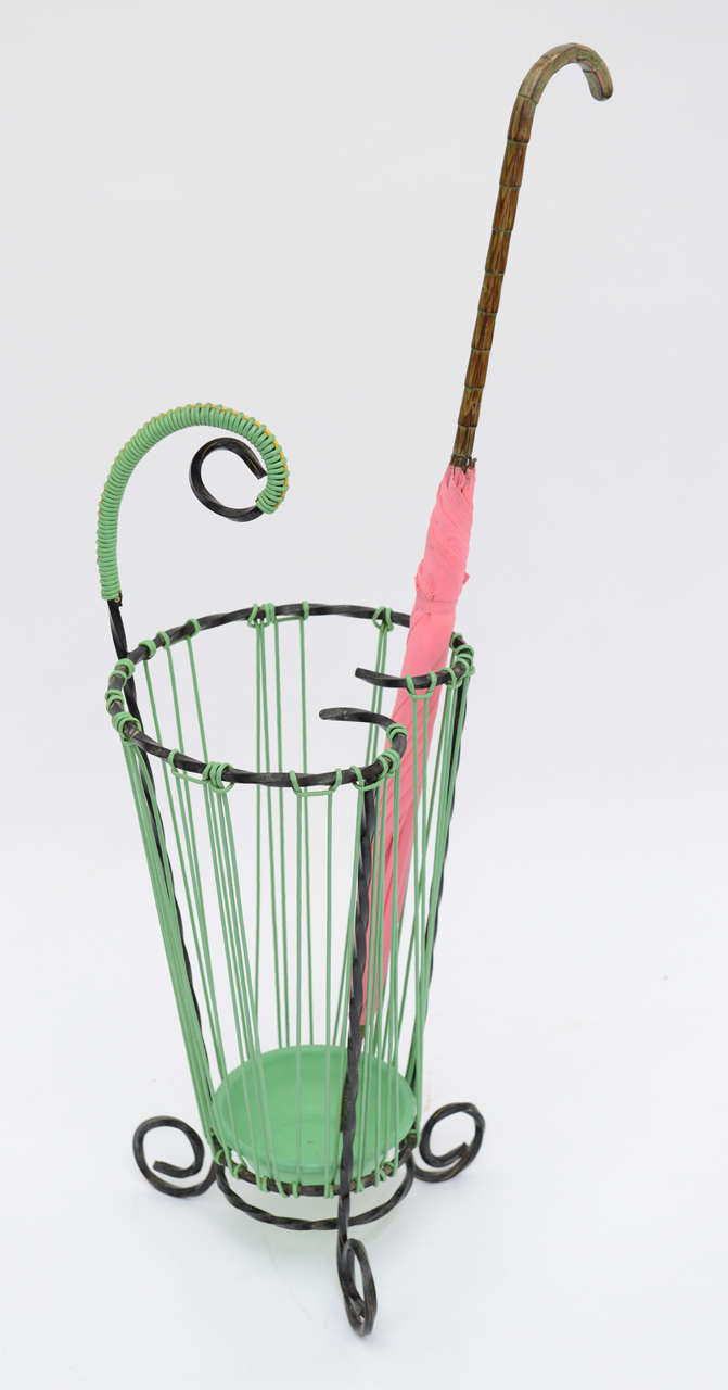Lovely Glamour French Vintage Twisted Wrought Iron Umbrella Stand For Sale 6