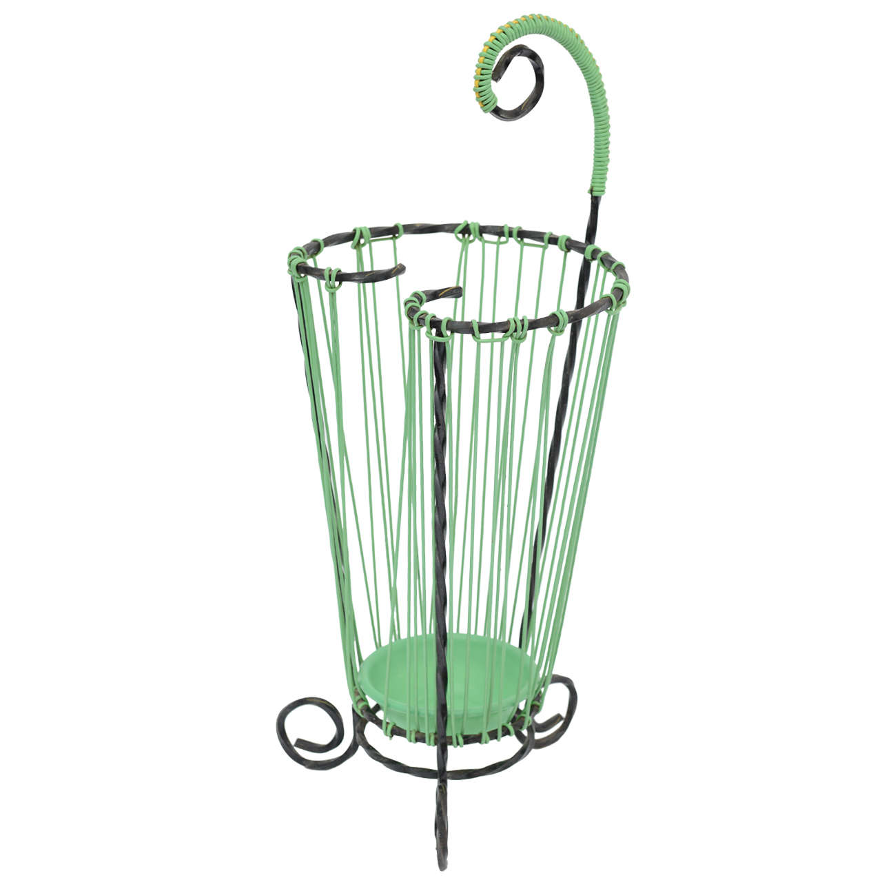 Lovely Glamour French Vintage Twisted Wrought Iron Umbrella Stand For Sale
