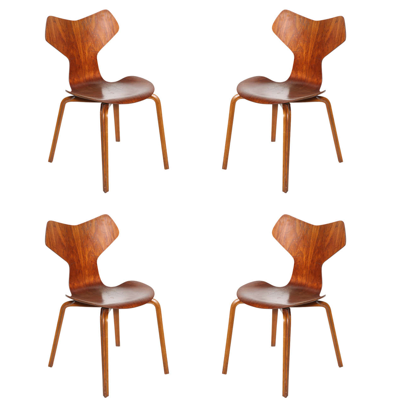 grand prix chairs by arne jacobsen original teak set of. Black Bedroom Furniture Sets. Home Design Ideas