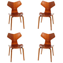 Grand Prix Dining Chairs by Arne Jacobsen, Set of Four