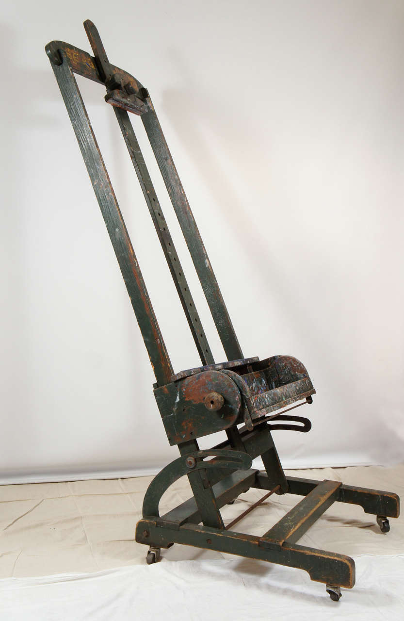 Antique Adjustable Artists Easel Tv Media Stand For Sale