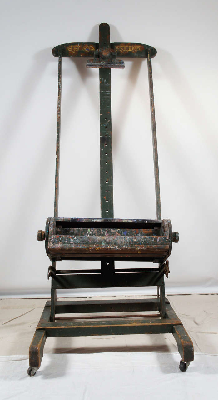 Antique Adjule Artists Easel Tv Media Stand In Distressed Condition For Great Barrington