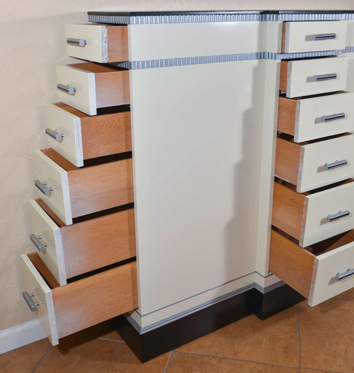 Art Deco Machine Age Skyscraper Kittinger Console Chest, Matching Mirror, Mont For Sale 4