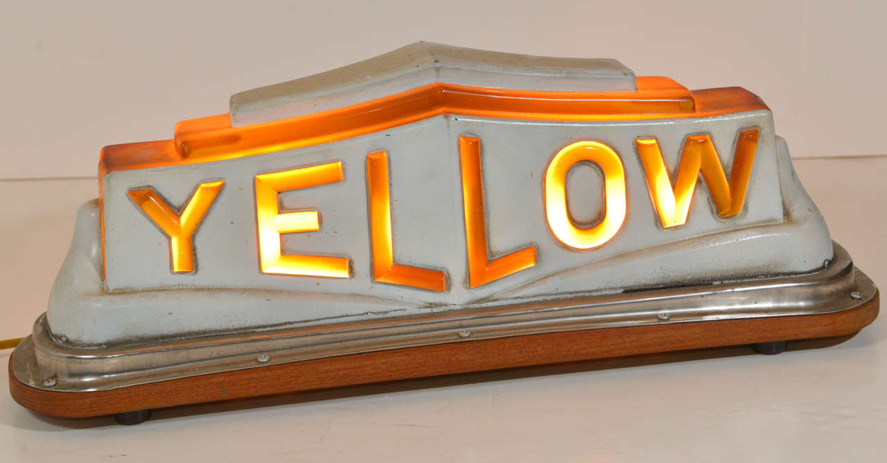 Vintage Yellow Cab Roof Top Call Light At 1stdibs