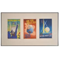 Art Deco Machine Age Original 1939 New York World's Fair Posters Triptych