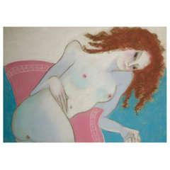Anna Sylverberg Oil Pastel, Nude Serie, AS Monogram, 1962
