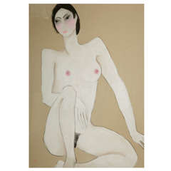 Anna Sylverberg Oil Pastel, Nude Serie 1962, AS Monogram