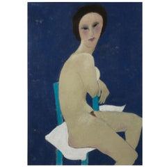 Anna Sylverberg Oil Pastel, part of a nude serie, AS monogram, 1962
