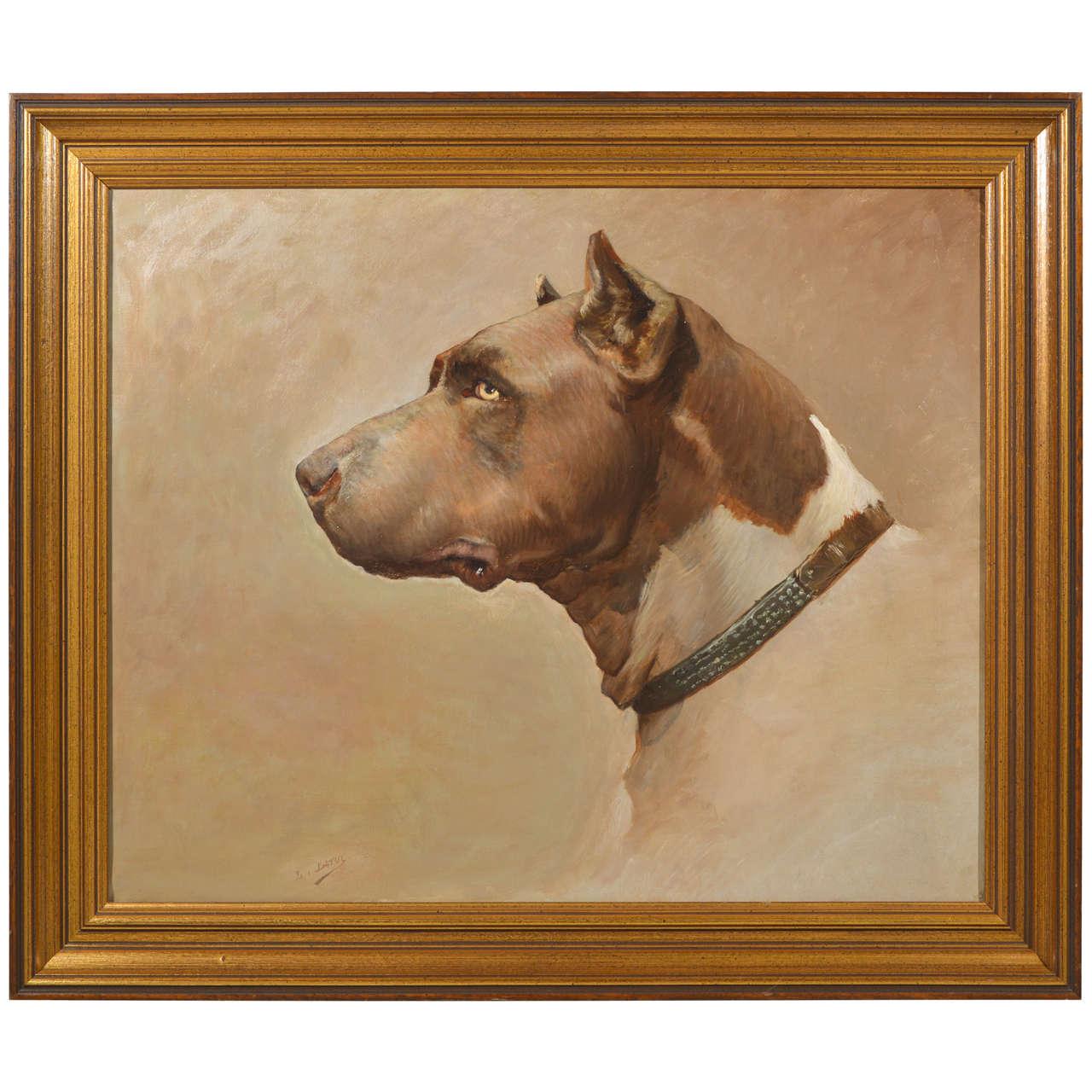 Framed Oil Painting of Dog Side Portrait