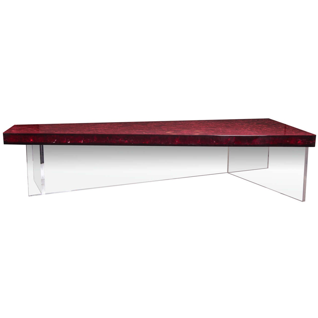 Marie Claude De Fouqui Res Red Fractal Resin Coffee Table At 1stdibs