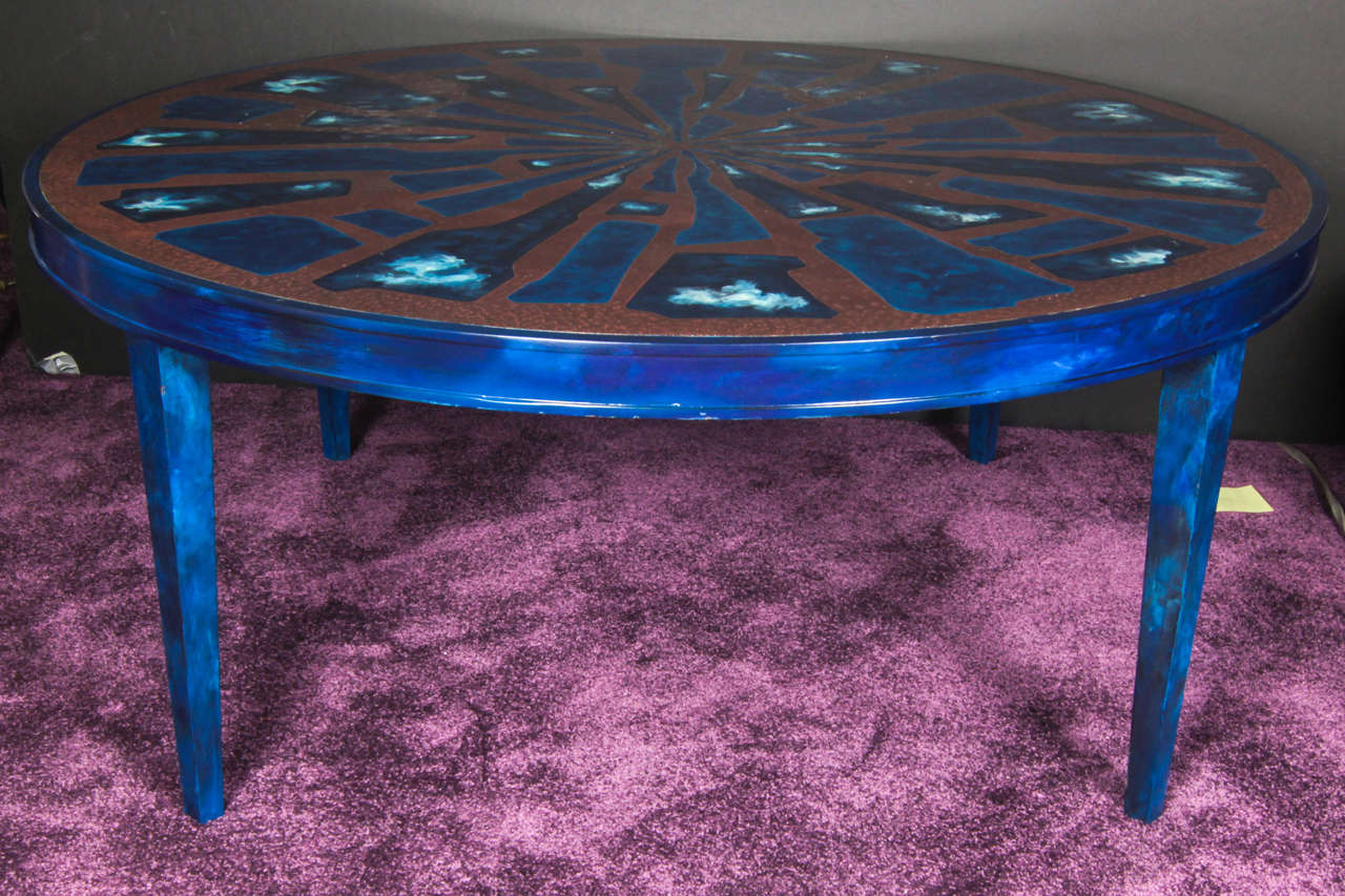 French Etched Brass and Lacquered Coffee Table 2