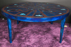 French Etched Brass and Lacquered Coffee Table image 2