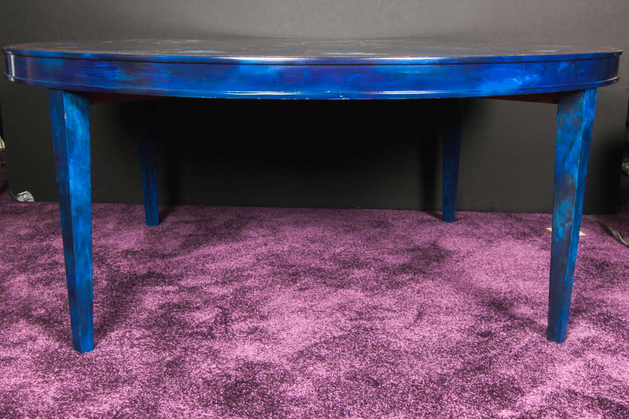 French Etched Brass and Lacquered Coffee Table 3