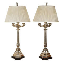 19th C Silver Over Bronze Charles X Candleabrum Lamps
