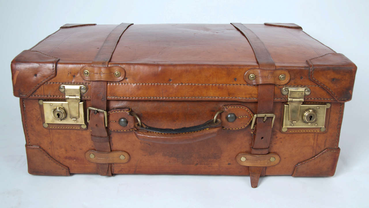 19th C. Leather SUITCASE, English, Very High Quality 2